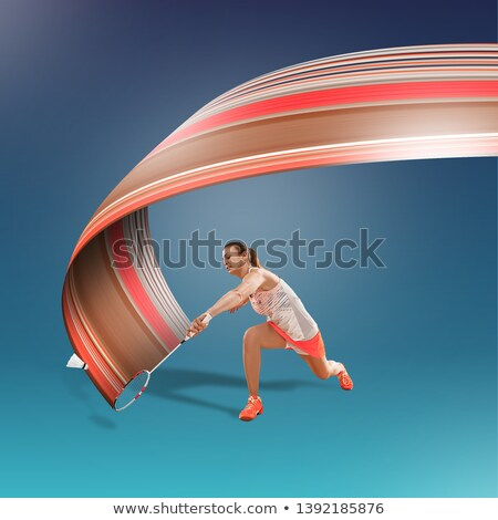 full length portrait of a sports woman with fitness ball stock photo © deandrobot