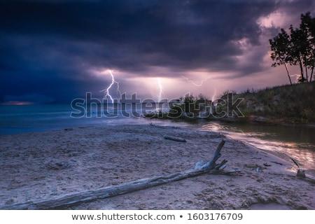 Viharos este égbolt tó hegyek Stock fotó © PixelsAway