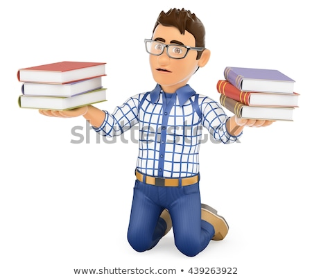3D Young student punished holding books Stock photo © texelart