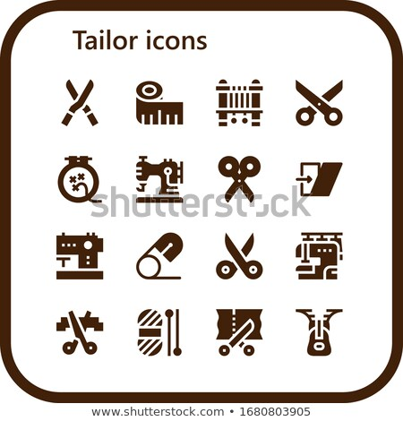 sewing tools flat vector silhouette icons stock photo © vectorikart