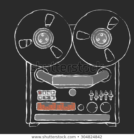 reel tape deck player recorder sketch icon stock photo © rastudio