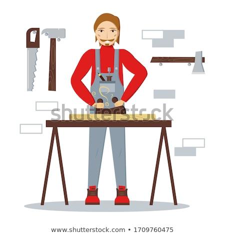 red pencil on carpenters workshop table stock photo © stevanovicigor