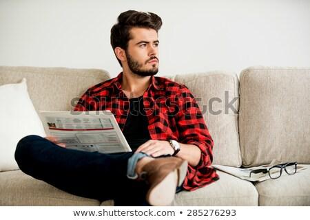 Homme lecture journal titre mode de vie mode Photo stock © Zerbor