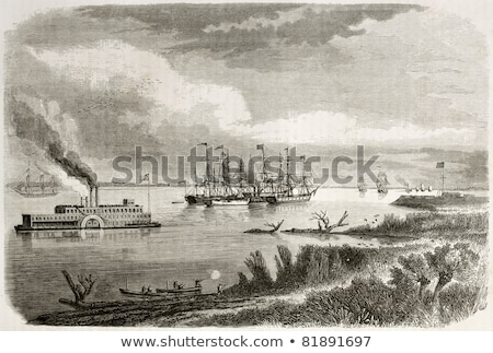 Old steamship on water Stock photo © IMaster
