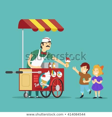 Menina sorvete ilustração beber creme Foto stock © adrenalina