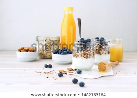 Müzli bogyós gyümölcs étel étel diéta tál Stock fotó © M-studio