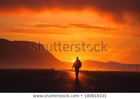 Man lopen zonsondergang handen zak zwarte Stockfoto © Hofmeester