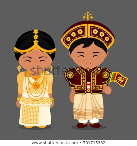 Sri Lanka boy and girl in traditional costume Stock photo © bluering