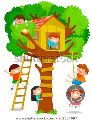 девушки скалолазания лестнице дерево дома Сток-фото © tekso