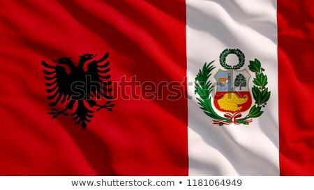 Albánia · integet · zászló · vektor · kép · textúra - stock fotó © Amplion