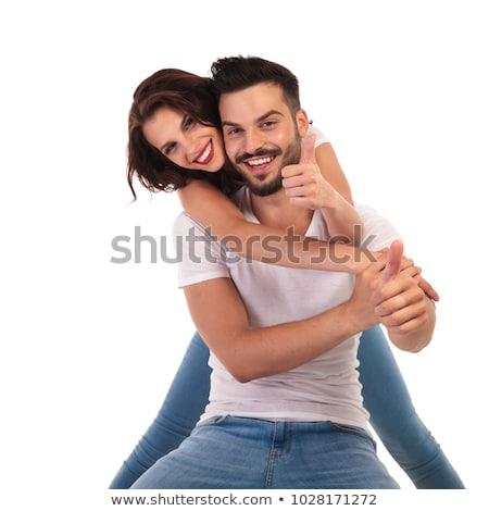mulher · atraente · caixa · remoção · sorrir · adolescente - foto stock © feedough