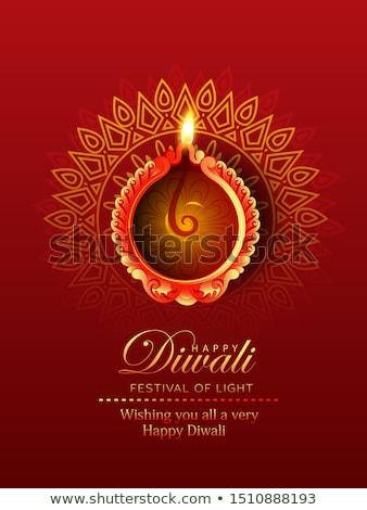 red background with diwali diya design Stock photo © SArts