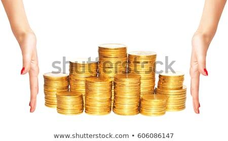 Nő arany érmék oszlopok takarékosság felirat pénzügy Stock fotó © vlad_star