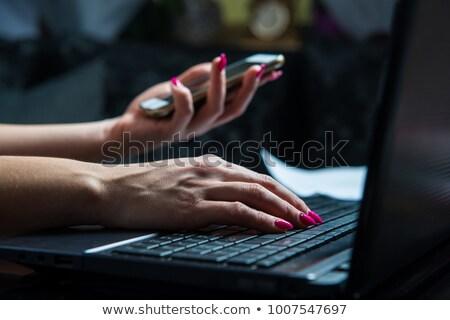 image transfer on laptop in modern workplace background stock photo © tashatuvango