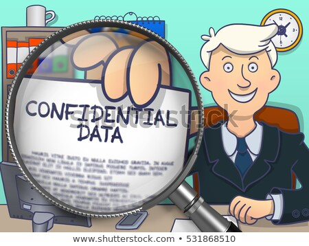 Confidentiel lentille doodle style homme d'affaires bureau Photo stock © tashatuvango