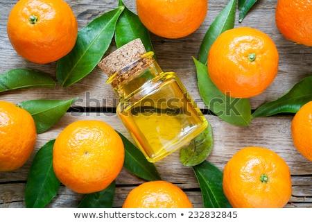 Bladeren fles essentieel citrus olie witte Stockfoto © yelenayemchuk