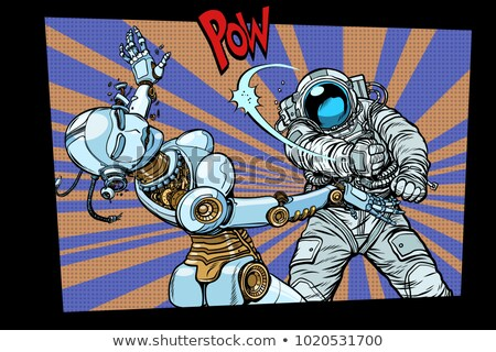 Astronaut in sus femeie robot pop art Imagine de stoc © studiostoks