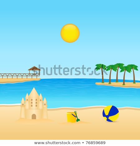 Scène sandcastle plage illustration paysage fond Photo stock © bluering