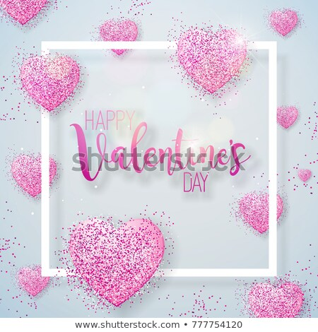 Happy Valentines Day Illustration with Pink Glittered Hearth on Vintage Wood Background. Vector Wedd Stock photo © articular