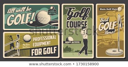 Golfer Caddie Golf Course Retro Stock photo © patrimonio
