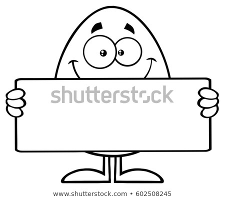 Blanco negro huevo mascota de la historieta carácter Foto stock © hittoon