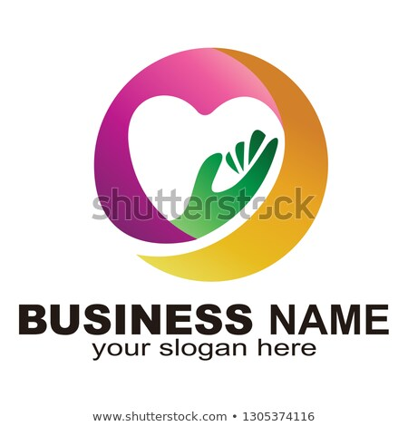 Abstract logo heart in a hand. vector illustration isolated on white background. Stock photo © kyryloff