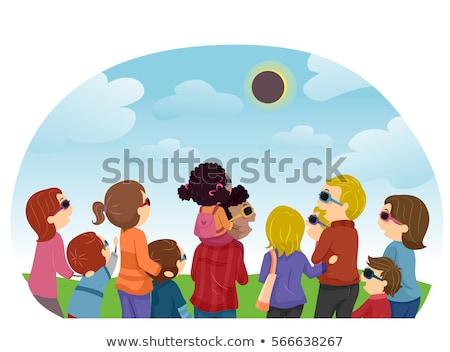 Stickman Family Solar Eclipse Watch Stock photo © lenm