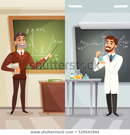 Chemistry lesson - colorful line design style banner Stock photo © Decorwithme