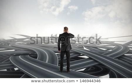 con · los · ojos · vendados · empresario · incertidumbre · negocios · hombre · trabajo - foto stock © elnur