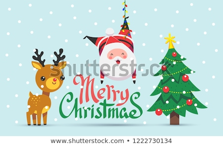 klassz · piros · hópelyhek · vidám · karácsony · hó - stock fotó © SArts