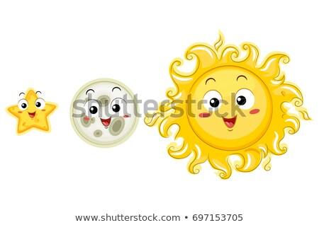 Maskottchen Vergleich hellen Illustration Sterne Mond Stock foto © lenm