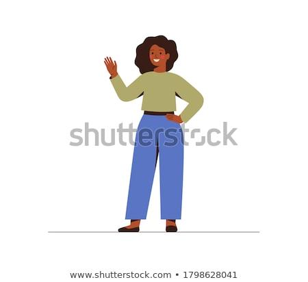 Desenho animado mulher negra ilustração mulher sorridente Foto stock © cthoman