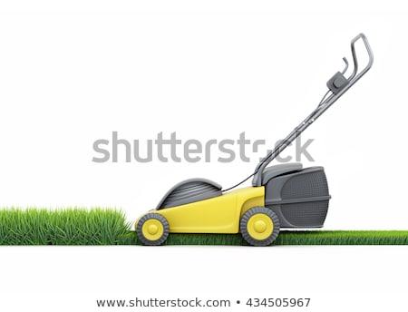 lawn mower worker. Isolate on white background Stock photo © studiostoks