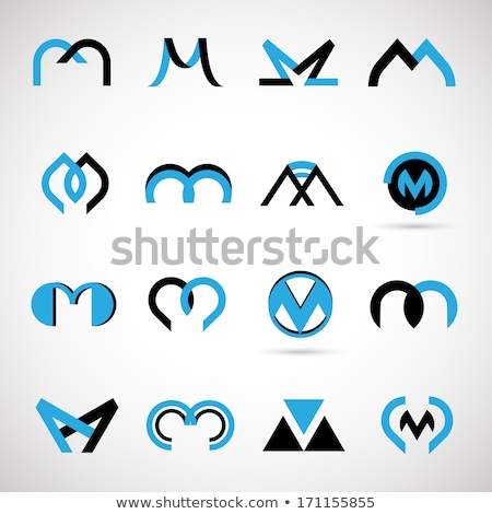 gray blue vector logo m letter m icon stock photo © blaskorizov