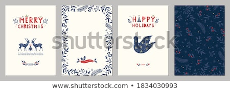Christmas card template of red deer and pine leaf Stock photo © cienpies