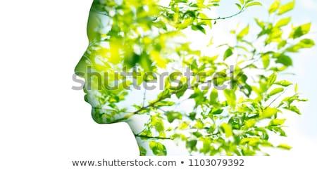 çift maruz kalma kadın profil ağaç yeşillik Stok fotoğraf © dolgachov
