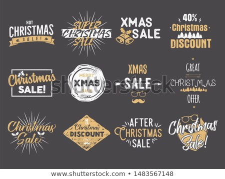Merry Christmas sale overlays. New Year discounts quotes set. Funny xmas typography arts. Trending c Stock photo © JeksonGraphics