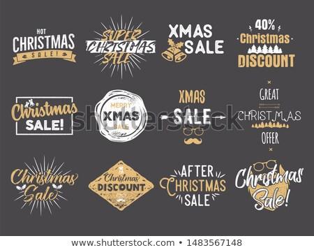 karácsony · vásár · szalag · sötét · háttér · piros - stock fotó © jeksongraphics