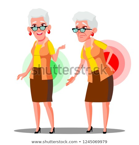 Stock photo: Bent Over Old Woman From Back Ache, Sciatica Vector. Isolated Cartoon Illustration