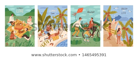 family couples posters set vector illustration stock photo © robuart
