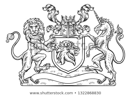 Crest Heraldic Lion Unicorn Shield Coat of Arms  Stock photo © Krisdog