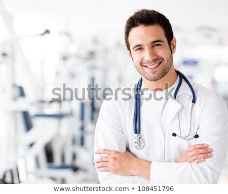 мужской · доктор · иллюстрация · стетоскоп · медицинской · диаграммы · пер - Сток-фото © rogistok