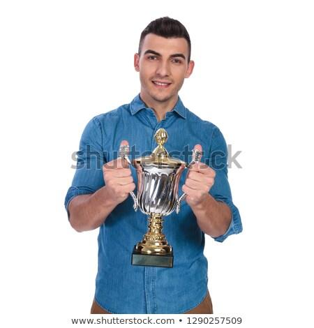 Retrato sonriendo casual hombre ofrecimiento ganar Foto stock © feedough
