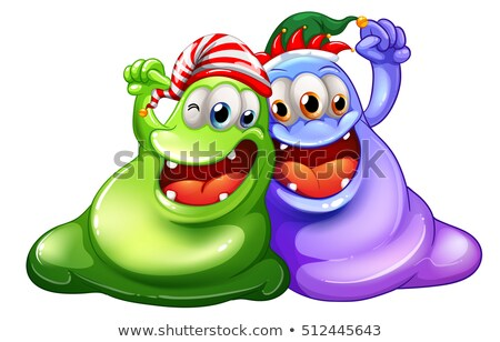 Christmas theme with two monsters having party Stock photo © colematt