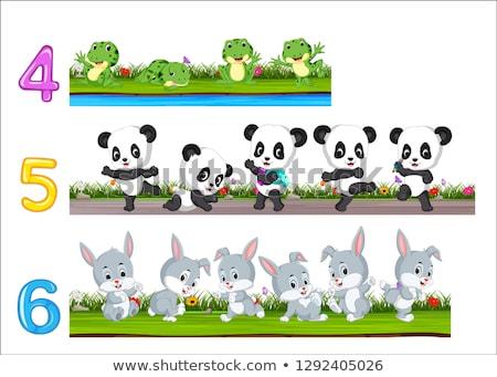 Número dez panda assinar carta animal Foto stock © colematt