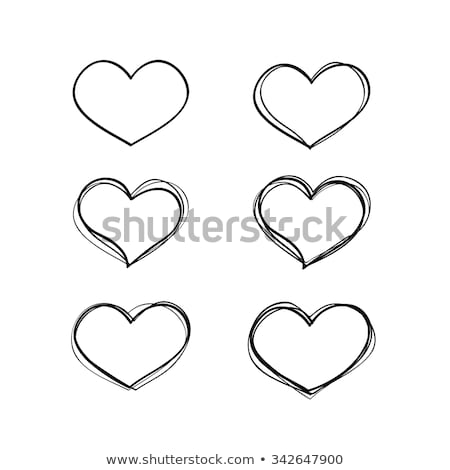 Red heart hand drawn  Icon cute, cartoon doodle love vector