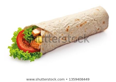 Stock fotó: Tyúk · tekercsek · finom · tányér · ebéd · friss