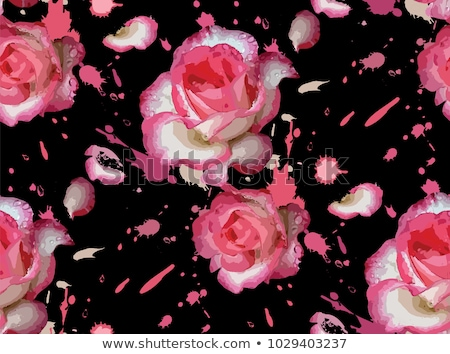 Seamless pattern with pink and white roses. Vector illustration. Romantic wallpaper. Hand painted wa stock photo © bonnie_cocos