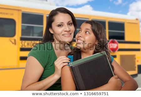 Hispanic матери дочь школьный автобус женщину девушки Сток-фото © feverpitch