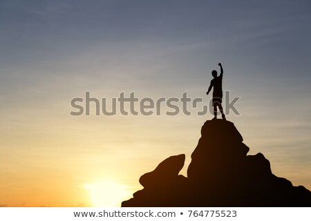 Businessman Going to Success, Climbing Up on Rock Stock photo © robuart